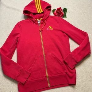 Adidas Womens Size Medium Hot Pink Hooded Jacket
